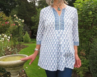 Vintage Indian Cotton Anoki Tunic Top Blue and White Floral with Button Neckline