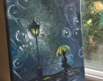 Rainy Girl with Umbrella