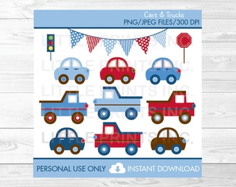 Car Truck Transportation Vehicles Clipart PERSONAL USE Instant Download