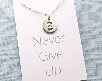 Mantra Necklace | Motivational Inspirational Jewelry, Never Give Up, Cancer Survivor, Gift for Runner, Fight On | Silver | Y07