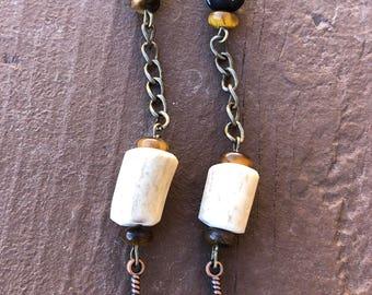 Elk Antler and Batik Bone Bead Earrings