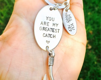 You Are My Greatest Catch, Will You Marry Me, Custom Keychains , Christmas For Him,  Handstamped Fishing Keychain, Weddings, Natashaaloha
