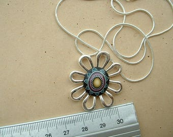 BEAUTIFUL NECKLACE IN ETHNIC FIMO HEART 925 STERLING SILVER DAISY