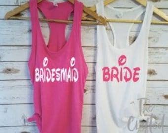 Bride and Bridesmaids Tanks/ Bachelorette Shirts / Bridesmaid Shirts /Bachelorette Party Shirts /  Wedding Day Shirt / Bridesmaids Shirts