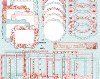 English Cottage Digital Frames Borders Elements Pack | Transparent Background | Instant Download