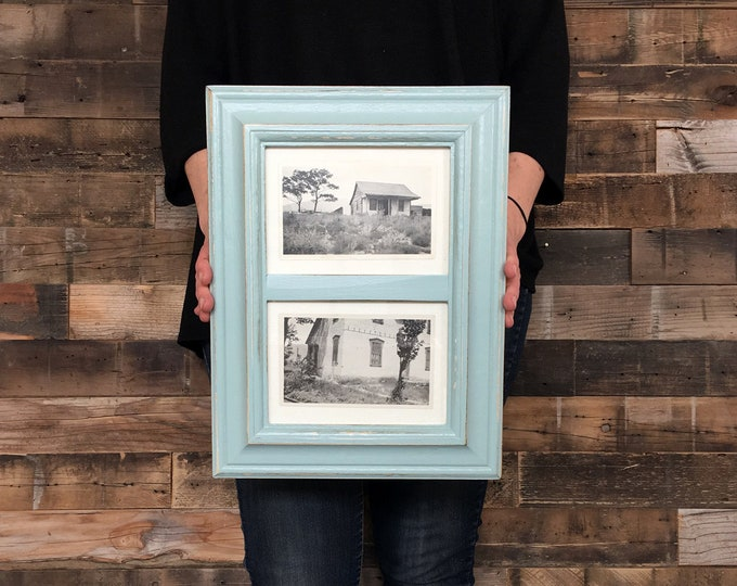 """Diptych Style Frame for (2) 5x7"""" Photos in Mulder Style and Finish Color OF YOUR CHOICE - Collage Frame 5x7 - Window Gallery Wall frame 5x7"""