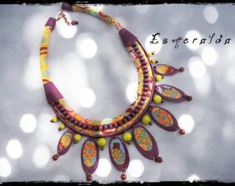 SOLD - necklace ESMERALDA fabric predominantly orange and yellow - purple leather, wood beads
