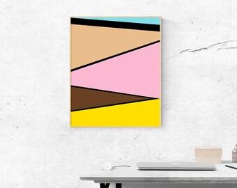 "Printable Art, Abstract Art, Color Block, Geometric Art, Instant Download 24""x30"""