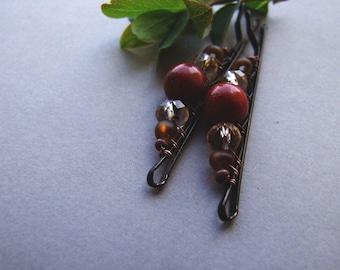 Coral Bobby Pins, Bohemian Red Coral Hair Pins, Natural Organic Bobby Pins with Coral Beads