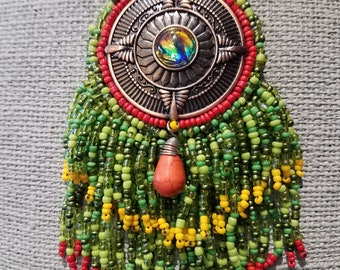Rasta Fringe Bead Embroidery Necklace