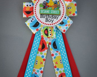 Sesame Street Birthday Pin, Sesame Street Party Pin, Sesame Street Pin, Sesame Street Corsage, Sesame Street Birthday Party Favor