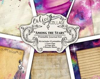 Imprimable, Kit de Journal, parmi les étoiles, les Pages de Journal de 5 x 7, les papiers pour Galaxy, Junk Journal Kit, Pack d'éphémères, Vintage zodiaque, astrologie