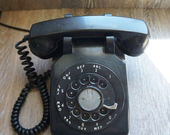 Vintage 1961 Western Electric Bell System Black Rotary Telephone C/D 500 with Cord & 4-prong Adapter