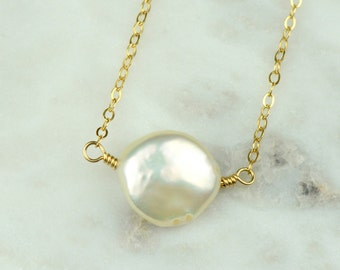 Gold Coin Pearl Necklace | White Coin Pearl Pendant Necklace | Modern Bridal Jewelry | Dainty Gold Necklace
