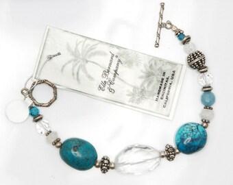 Turquoise bracelet | Chunky Turquoise jewelry | Clear Quartz bracelet | Moonstone bracelet | Statement Jewelry