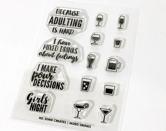 "Ms. Kimm Creates MIXED DRINKS Girls Night 3""X4 Photopolymer Clear Stamp Set -  Planner, Bullet Journal, Project Life, Scrapbooking,"