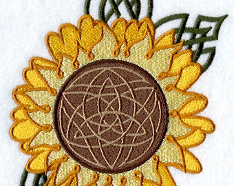 Celtic Sunflower Embroidered Flour Sack Hand/Dish Towel