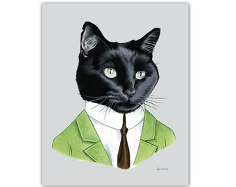 Mister Black Cat art print  - Nursery art - Pet Portrait - Animals in Clothes - Animal Art - Ryan Berkley Illustration 8x10