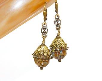 Golden Earth Czech Glass Earrings, Boho Style Earrings, Gift for Her, Tribal Earrings