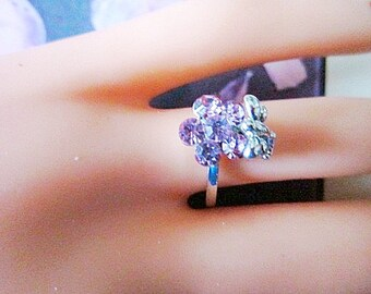 Vintage Crystal Flower Ring With Butterfly - Size 6.5 - R-029