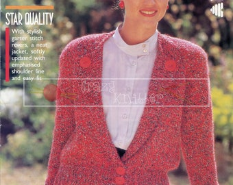 Lady's Vintage Jacket 32-38in Chunky Patons 8601 Vintage Knitting Pattern PDF instant download