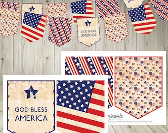 Independence Day 4th July Thanksgiving Bunting Stars and Stripes vintage USA Garland American flag Download  statue of liberty printable