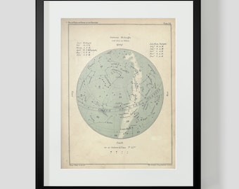 January Constellation Star Chart Popular Guide to the Heavens Art Print 39