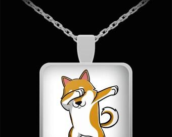 Dabbing Shiba Inu Necklace - Doge Meme Pendant - Funny Dog Dab Jewelry Gift