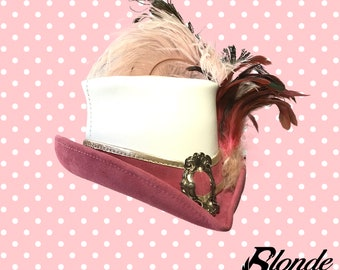 Pink and White Riding Mini-Top Hat