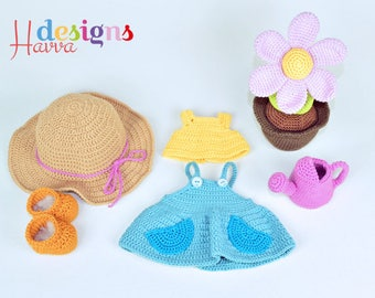 Crochet Pattern  - Mia The Gardener (Just clothes and accesories)
