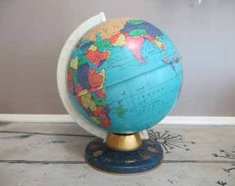 Vintage Metal Globe 1960s Zodiac Globe Childrens Globe Retro Globe World Metal Toys Vintage Toys Ohio Arts Globe