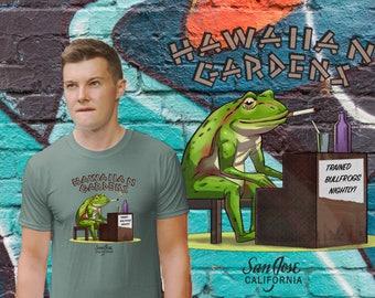 Hawaiian Gardens San Jose, CA tiki bar frog playing piano t-shirt