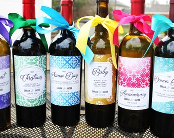 Wedding Milestone Wine Labels // Wedding Firsts // Year of Firsts // Newlywed Gift // Wedding Shower Gift