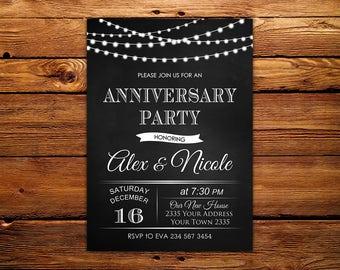 Anniversary Party Invitation. Wedding Anniversary Party Invitation. 25th, 30th, 40th 50th. Black and White. String Lights. Chalkboard.