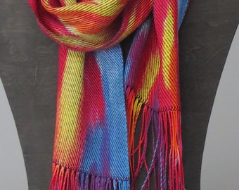 Handwoven Dye Painted Silk-like Scarf