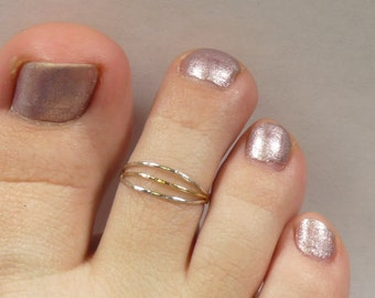 Toe ring, Sterling Silver Toe ring, 14 k gold fill and Argentium silver toe ring
