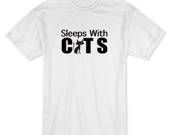 Sleep With Cats Quote, Cat Graphic As A Men's T-shirt