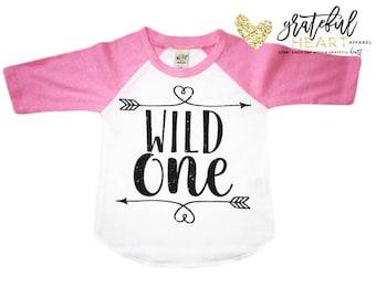Wild one shirt, First birthday shirt, pink raglan, 1st birthday outfit, One year old birthday outfit, First birthday outfit, First birthday