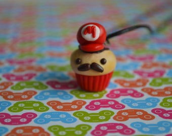 Mario inspired polymer clay Mario cupcake