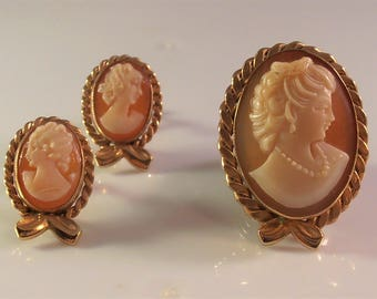 AMCO Cameo Brooch Earrings Set, Pendant Combo, 14K Rose Gold Filled, 1940s Victorian Revival, Carved Shell