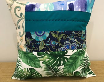 "OOAK Mixed Fabric Designs Cushion Cover Pillow Case. 18"" (45cm). Cushion Covers Australia. Cool colours."