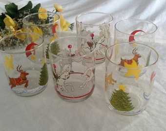 Libby Christmas Glasses Set of 6