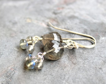 Labradorite Earrings Sterling Silver Grey Earrings, Dangle Cluster Gemstone Earrings