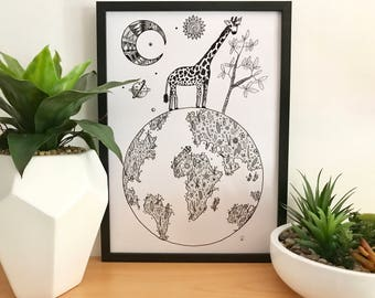 Giraffe World Print - A3
