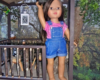 Denim Short Bibs with Pink/Silver Tee- 18 inch Doll Clothes