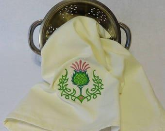 Celtic Knot Thistle Towel, Cotton Hand Towel, Embroidered Towel, St. Patrick's Day Towel, Celtic Towel, Thistle, Irish, Irish Towel