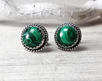 Malachite Posts Malachite Studs Green Malachite stud Earrings Sterling Silver Posts Earrings 8mm stone