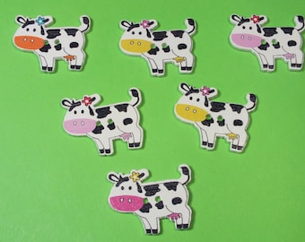 LOT 5 wood buttons: cow 22 * 28 mm (05)