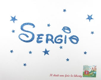 Applied fusible customizable glitter name of 6 letters (example, Sergio) glitter fabric (colors)