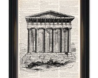 Ancient Roman architecture dictionary art print. A Upcycled Vintage Dictionary Page print 8x10 inch. Buy any 3 prints get 1 free!